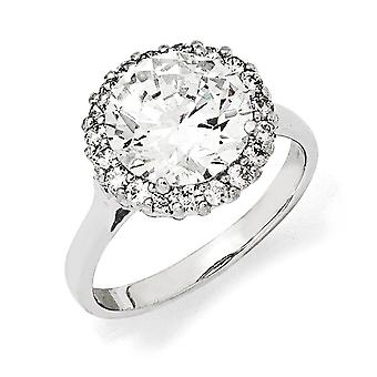 Sterling Silver Rhodium-plated Cubic Zirconia Ring - Ring Size: 6 to 8
