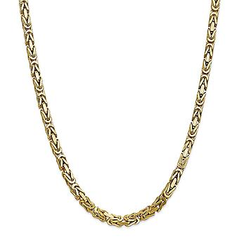14k Yellow Gold Solid Polished Lobster Claw Closure 5.25mm Byzantine Chain Necklace - Lobster Claw - Length: 20 to 24