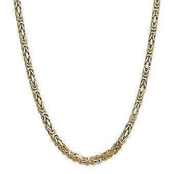 14k geel gouden Solid gepolijst Lobster Claw sluiting 5,25 mm Byzantijnse Chain ketting - kreeft-klauw - lengte: 20 tot en met 24
