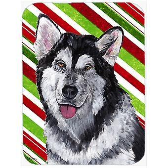Alaskan Malamute Candy Cane Holiday Christmas Mouse Pad, Hot Pad or Trivet