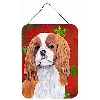 Cavalier Spaniel Red  Snowflakes Holiday Christmas Wall or Door Hanging Prints