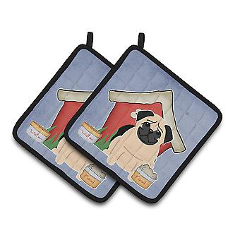 Dog House Collection Pug Fawn Pair of Pot Holders