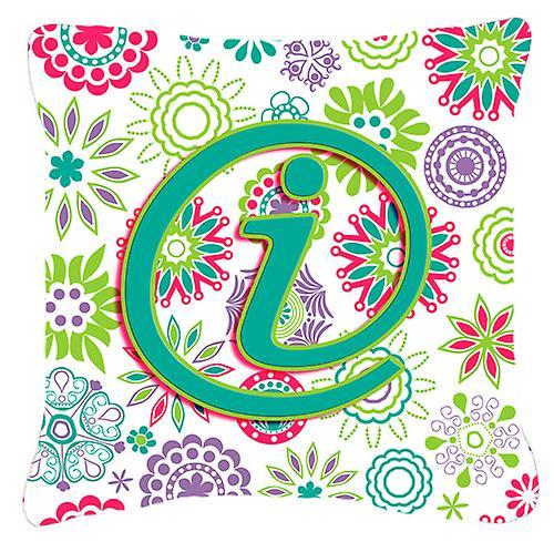 Tissu Oreiller Fleurs Toile Initial Lettre Rose Vert Décoratif Teal I 8POknw0