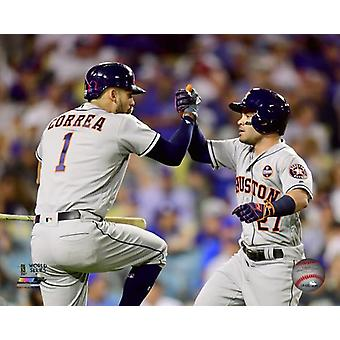 Carlos Correa & Jose Altuve Home Run celebration Game 2 of the 2017 World Series Photo Print