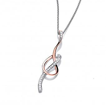 Cavendish French CZ, Rose Gold and Silver Ribbon Pendant without Chain