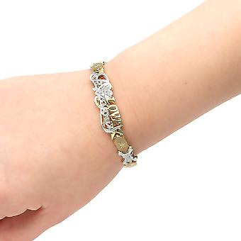"""10k Two-Tone Gold Stampato Xoxo Hugs and Kisses with Bear and Heart  """"I Love You"""" ID Bracelet"""