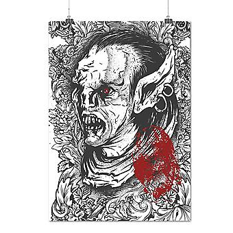 Matte or Glossy Poster with Orc Satan Zombie Horror | Wellcoda | *d1261