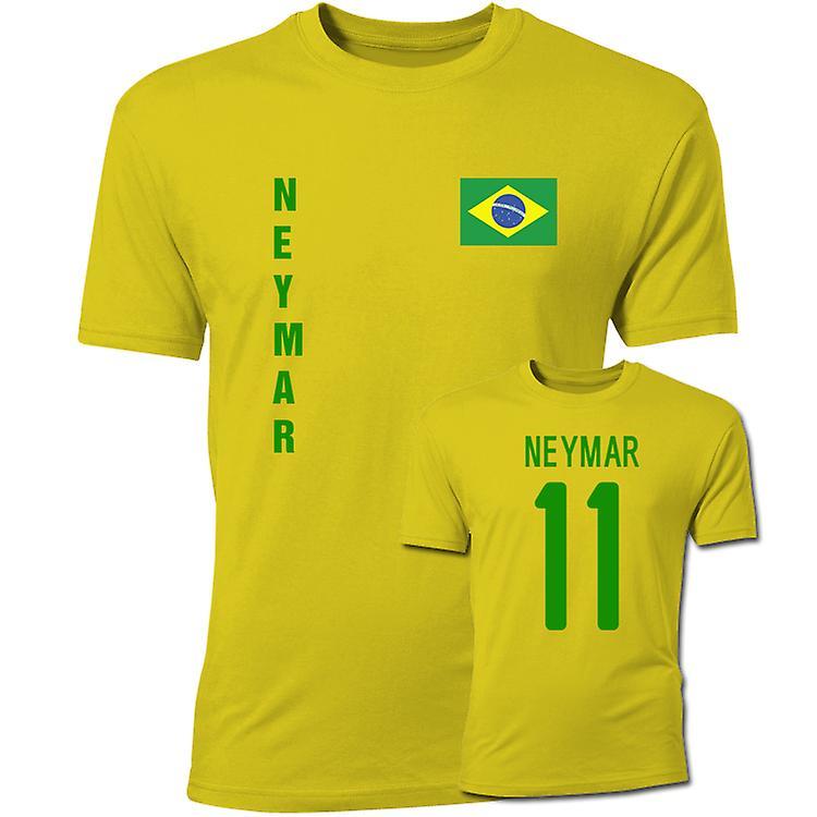 Neymar Brasil flagg T-Shirt (gul)