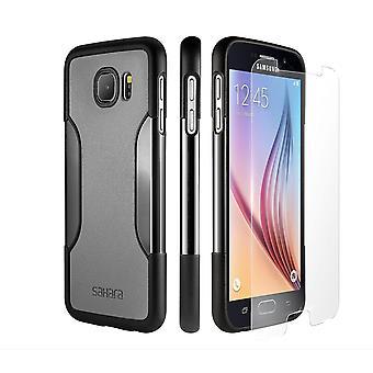 SaharaCase Galaxy S6 la niebla gris de protección caso, clásico Kit paquete con ZeroDamage vidrio templado