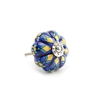 CGB Giftware Yellow/Blue Flower Melon Ceramic Drawer Handle