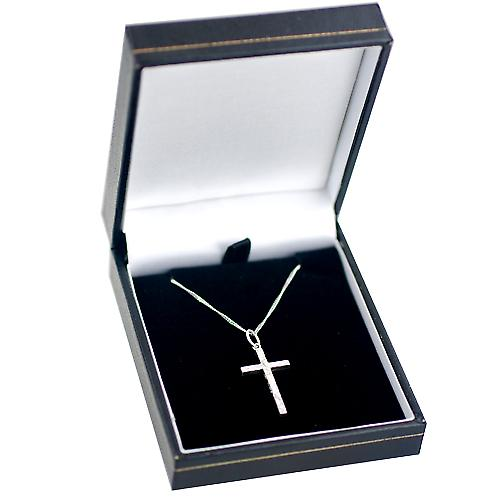 Silver 25x14mm hand engraved solid block Cross with a rolo Chain 18 inches