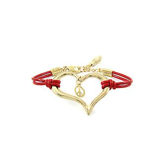 Ettika - Bracelet heart and Peace and Love in yellow gold and leather Red
