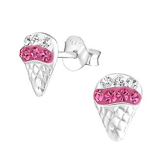 Ice Cream - 925 Sterling Silver Crystal Ear Studs