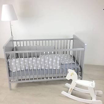 Baby bed in gray, also converts to the crib/cot