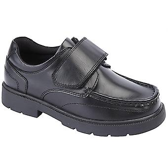 Boys Leather Touch Fastening Smart School Formal Boat Shoes