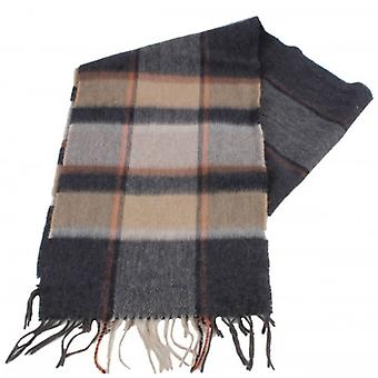 Bassin and Brown Mackay Check Cashmere Scarf - Beige/Grey/Brown