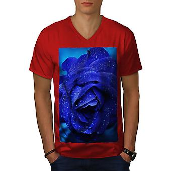 Blue Rose Beautiful Men RedV-Neck T-shirt   Wellcoda