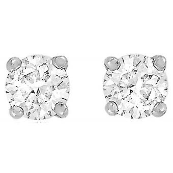 IBB London Round Cubic Zirconia Stud Earrings - Silver