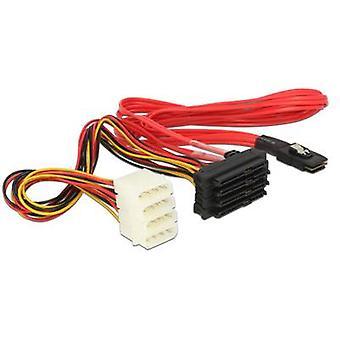 Hard drives Cable [1x Mini SAS plug (SFF-8087) - 4x SATA plug 22-pin, IDE power plug 4-pin] 0.50 m Red, Yellow, Black Delock