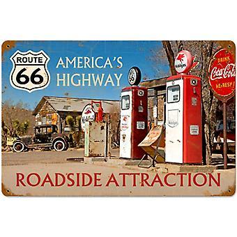 Route 66 vejene attraktioner rustent Metal underskrive 450 Mm X 300 Mm