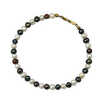 Gemshine - Damen - Armband - Perlen - Tahiti - Grau Weiß - Vergoldet - 19 cm