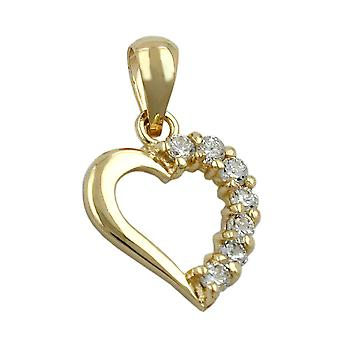 Golden Heart pendant gold 375 pendant, heart with Zircons, 9 KT GOLD