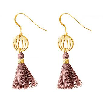Ladies earrings 925 silver plated Lotus flower with old pink tassel 4 cm