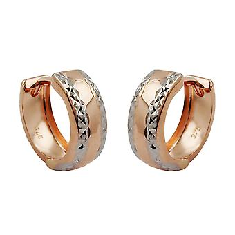 Hoops pink bicolor 375 earrings Creole, 9 KT pink gold diamond