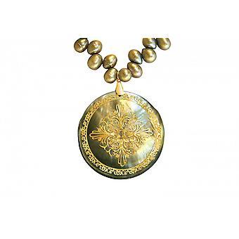 Wisiorek - medalion - perły - masa perłowa - Pozłacane - Brąz - szary - 5 cm
