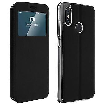 Window flip case, flip wallet case with stand for Xiaomi Mi 8 - Black