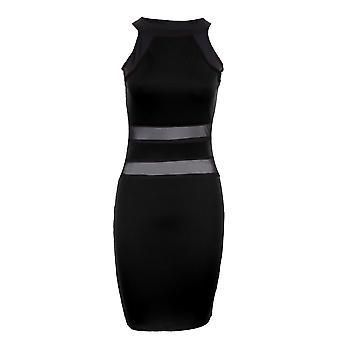 Ärmelloses Damen Streifen Kontrast Mesh sehen durch Damen Bodycon Kleid