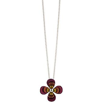 Ti2 Titanium Triple Four Petal Flower Pendant - Brown