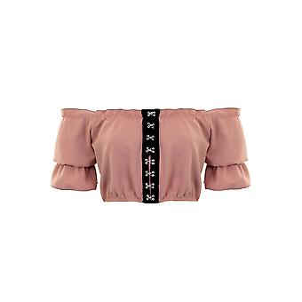Ladies Bardot Off Shoulder Short Sleeve Eyelet Ruffle Frill Elasticated Crop Top