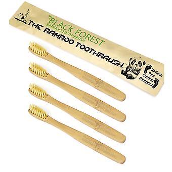 4 x Premium natuurlijke bamboe tandenborstel | Soft/Medium borstelharen voor gevoelig tandvlees