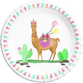 Lama Cactus party plates Ø 23 cm 8 piece children birthday theme party