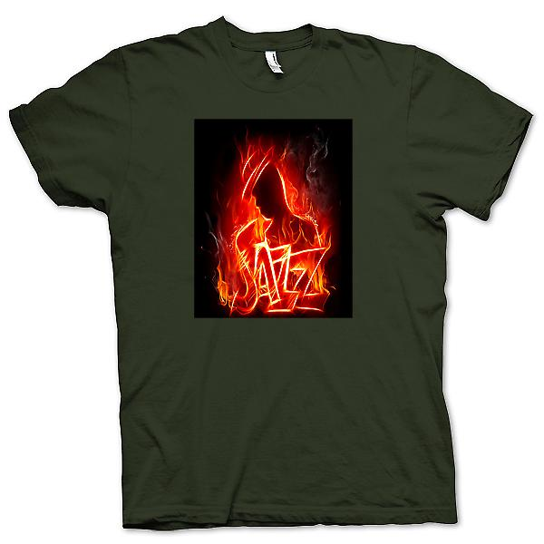 Mens t-shirt-Neon Jazz Design