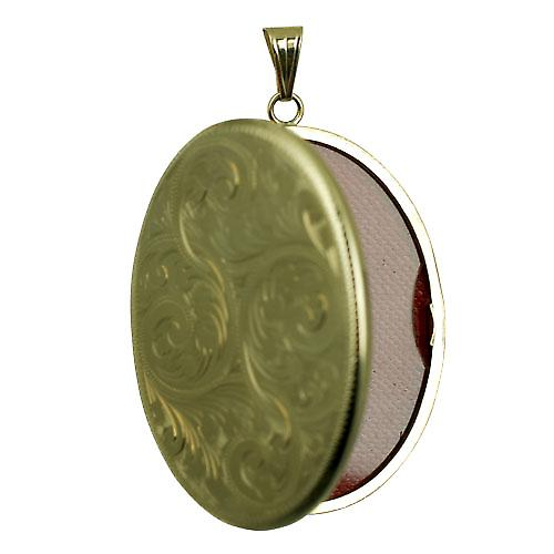 9ct Gold 45x36mm hand engraved flat oval Locket