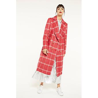 CMEO Check Longline Coat With Tie Detail