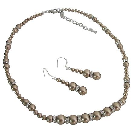 Handcrafted Custom Jewelry Swarovski Bronze Pearls Silver Rondells