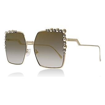 Fendi FF0259/S J5G Gold FF0259/S Square Sunglasses Lens Category 2 Lens Mirrored Size 60mm