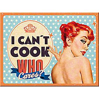 I Can't Cook, Who Cares? funny metal postcard / mini-sign (na)