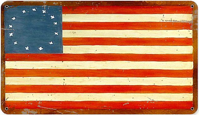 Stars and Stripes (old) rusted steel sign   (pst 148)