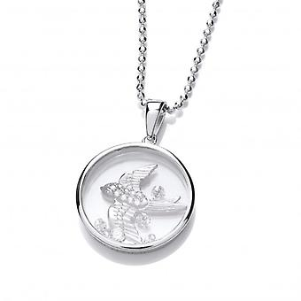 Cavendish French Celestial Silver and CZ Swallow Pendant with Silver Chain