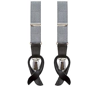 Dobell Mens Silver hängslen 2-i-1 Y-formade tillbaka Slim - 25mm