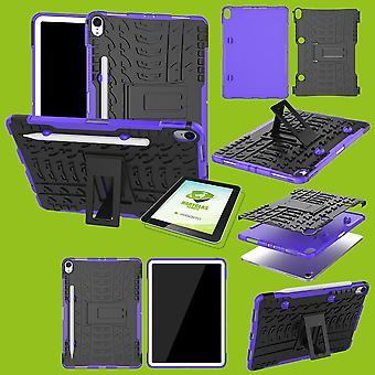 For Apple iPad iPad air 10.5 2019 3rd Gen hybrid outdoor protective case purple bag + 0.4 H9 protection glass