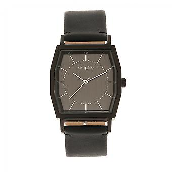 Simplify The 5400 Leather-Band Watch - Black