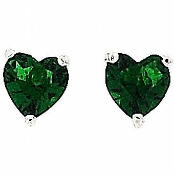 The Olivia Collection Sterling Silver Created Green Cz 6mm Heart Shaped Earrings