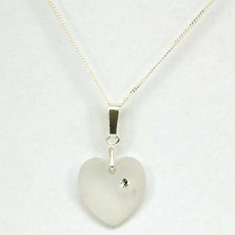 Toc Matte Heart Pendant with Crystal on 18 Inch Silver Chain