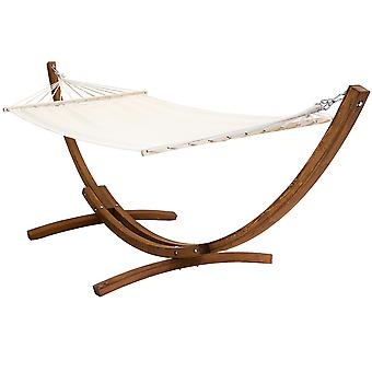 Charles Bentley Free Standing Canvas for Garden Hammock with Wooden Arc Stand in Cream Or Multicoloured