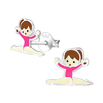 Children's Sterling Silver Gymnastics Stud Earrings